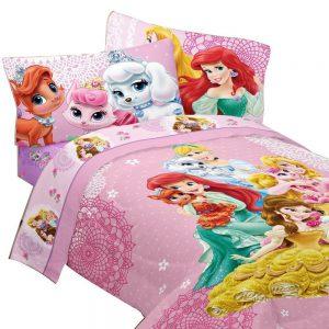 4pc Disney Princesses Twin Bedding Set Palace Pets Fabulous Friends Comforter and Sheet Set