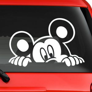 Art Stickers & Decals Mickey Mouse Peeking Disney Character car Truck Laptop Window Decal Sticker White (6 inches)