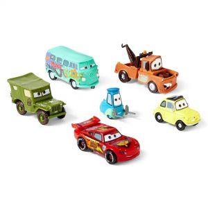 Disney Cars 6 pc Lightning McQueen, Luigi, Guido, Mater, Sarge, Filmore Figur...