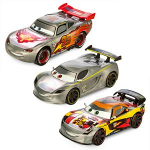 Disney Cars Silver Light-Up Die Cast 3 Cars Set Lewis Hamilton, Lightning McQueen, Miguel Camino Pixar Toy for Boys