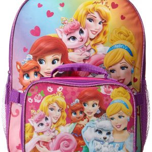 Disney Little Girls' Princess Palace Pets Backpack with Lunch, Pink/Purple, One Size