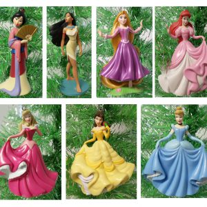 "Disney Magical PRINCESS 7 Piece Holiday Christmas Tree Ornament Set Featuring Belle, Rapunzel, Ariel, Cinderella, Pocahontas, Mulan and Aurora - Ornaments Range 3"" to 4"" Tall"