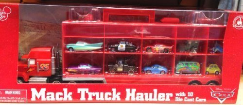 Disney Parks Pixar Cars Mack Truck Hauler Semi with 10 Diecast Cars NEW IN BOX