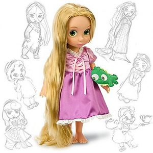 "Disney Princess Animators Collection 16"" Inch Doll Figure Rapunzel with Plush Friend Pascal"