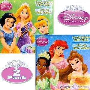 Disney Princess Bath Book Set (Rapunzel, Belle, Cinderella, Tiana, Ariel)
