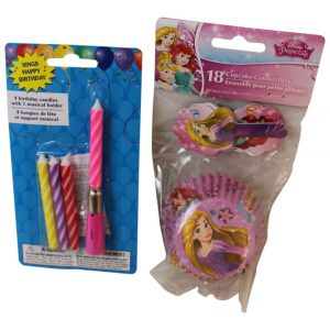 Disney Princess Birthday Cake Cupcake 2 Piece Bundle: 18 Cupcake Liners and Pick Toppers, and 16 Pink Metallic Birthday Candles with cake pick