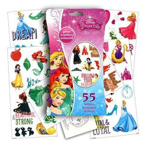 Disney Princess Glitter Temporary Stickers: Cinderella, Snow White, Rapunzel, Aurora, Belle, Ariel, Jasmine, Tiana, Merida and Mulan