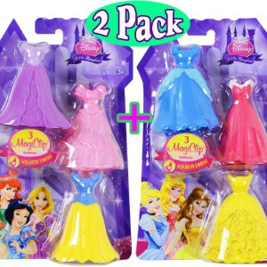 Disney Princess Little Kingdom Royal Fashions 3 MagiClip Fashions Gift Set Bundle - 2 Pack (6 Dresses Total)