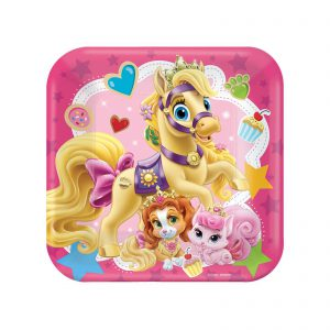 "Disney Princess Palace Pets 7"" Square Cake Plates (8 Count)"
