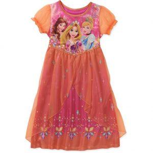 Disney Princess Rapunzel Belle Cinderella Girl Fantasy Orange Nightgown (6/6X)