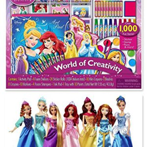 Disney Princess Ultimate Collection 7 Pack Anna Elsa Rapunzel Ariel Belle Merida Cinderella & Disney Princess World of Creativity Activity Set