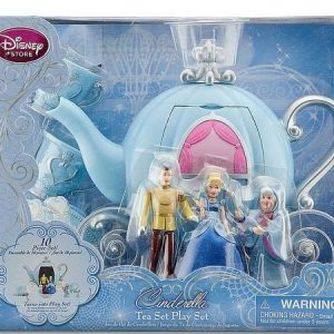 Disney Store Deluxe Cinderella Tea Set Includes Dolls and Carriage