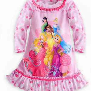 Disney Store Princess Dream Team Long Sleeve Floral Nightshirt Nightgown Girls
