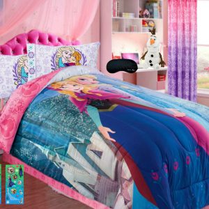 Home Style New! Disney Frozen 7 Piece Twin SUPERSET! Soft Comforter + 100% Cotton Flannel Sheets + Pillowcase, 2 Frozen Glitter Sticker Sheets + Bonus Sleep Mask (7 Pc Bedding Bundle)