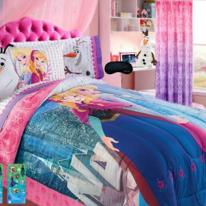 Home Style New! Disney Frozen Twin Bedding SUPERSET! Comforter, Sheet Set, Brand Sleep Mask+ Bonus Glitter Stickers! (7 Piece Bundle) (Twin)