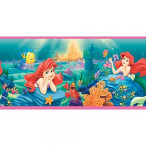 Imperial Disney Home DF059151B Ariel Princess Border, Pink, 10.25-Inch Wide