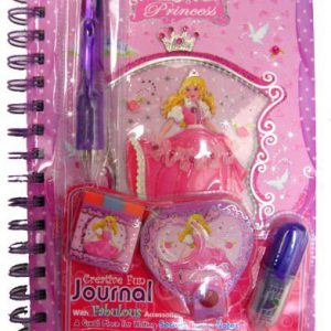 Princess Creative Fun Journal with 5pcs Fabulous Accessories (4 -color pen, Eraser, Marker, mini notebook, push and pull pencil)