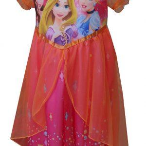 Rapunzel, Belle, and Cinderella Sheer Overlay Nightie for Girls (6), Orange, Size 6