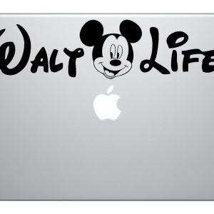 "Walt Life 9"" Black Vinyl Macbook Mac Air Laptop Car Truck Decal Sticker Disney Kids Fun Adorable Love Cute Awesome Disney World Disney Land"