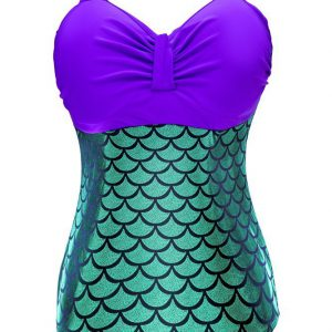 Women Plus Size Retro Holographic Mermaid Bikini One Piece Bathing Suits , Purple, X-Large