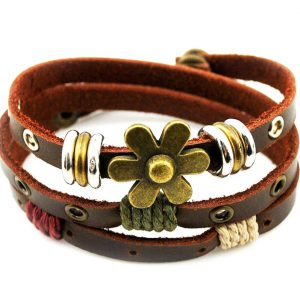 ZIKKER Charm Art Metal Flower Button Three Row Adjustable Leather Wrap Bracelet